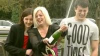 Julie Styles celebrating her £1.6m lottery win