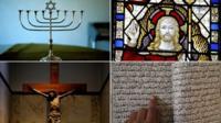 Montage of religious symbols