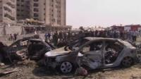 Wreckage of car in Syria