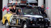 Paul Archer, Johno Ellison and Leigh Purnell in their London black cab