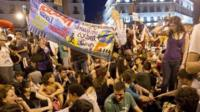 """Spain's """"indignants"""" protesters demonstrate at the Puerta del Sol square in Madrid"""