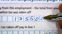 filling in a tax form