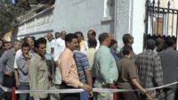 Long queues at polling station