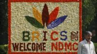 A sign made of fresh flowers with the Brics Summit logo in New Delhi, India