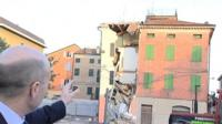 A building damaged in the earthquake in northern Italy