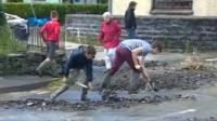 Children shovelling