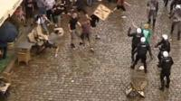 Chairs thrown at police in Poland