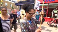 Residents holding a protest march