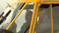 Prince Charles & Prince William in helicopter