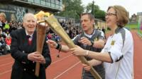 Sir Roger Bannister at Iffley Road stadium in Oxford