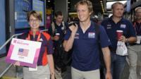 US sailing team arrive at Heathrow