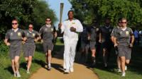 Lennox Lewis with flame