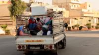 Refugees leaving Aleppo