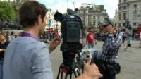 Film crew in Trafalgar Square
