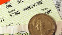 Rail ticket and pound coin