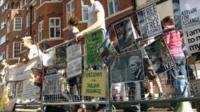Crowds gather outside embassy