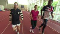 Libby Clegg leads a blindfolded Mike Bushell through his paces