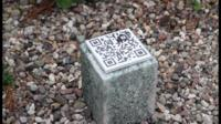 QR code on stone