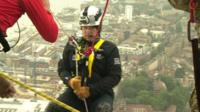 Prince Andrew begins abseil down Shard