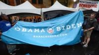 Democrat campaign workers in Charlotte, North Carolina