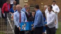 Mourners at Dylan Cecil's funeral