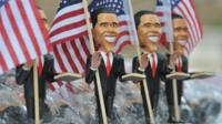 Obama figurines for sale near the Time Warner Cable Arena in Charlotte, North Carolina, on 4 September 2012