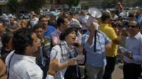 Egyptian tour guides protesting