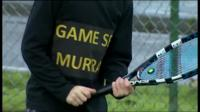 Young tennis player with 'Game set Murray' jumper