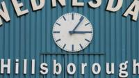 Hillsborough Stadium clock at 3.06pm, marking the time when the game was halted