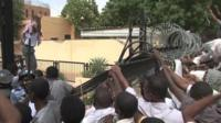 Protesters in Khartoum outside German embassy