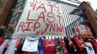 Tributes at the Hillsborough Memorial at Anfield