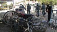 Scene of suicide bombing in Khost, Afghanistan, on 1/10/12