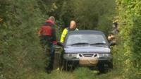 Michael Pedersen's car on the bridleway where the bodies were found