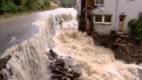 Flood waters wreck house in Scotland