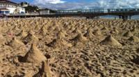 The sandcastles on Bourenmouth beach