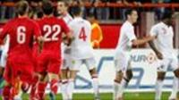 England and Serbia players clash following Tuesday's match