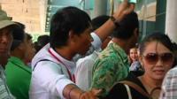 Passengers arriving at Yangon airport