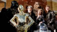 George Lucas and cast of Star Wars