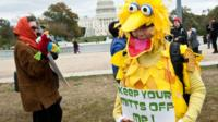 """A woman wearing a costume of Sesame Street character Big Bird holds a sign in support of public broadcasting during the """"Million Puppet March"""" in Washington"""