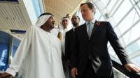 His Highness Sheikh Ahmed bin Saeed al Maktoum with David Cameron in Dubai