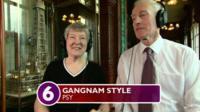 Ballroom dancers listen to Gangnam Style by Psy