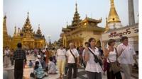 Foreign tourists at the Shwedagon pagoda in Yangon, Myanmar