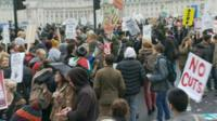 Students gathered near Westminster Bridge