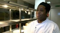 Donovan Patterson in industrial kitchen