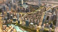 Aerial view of proposed Dubai project