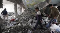 Damaged building in Aleppo