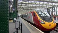 Virgin train in Central Station, Glasgow