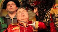 Matt Brown, Russell Grant and Steven Serlin in Peter Pan at the Aylesbury Waterside Theatre