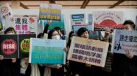 Cathay Pacific cabin crew protesting