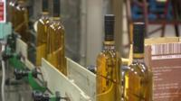 Penderyn whisky bottles on production line